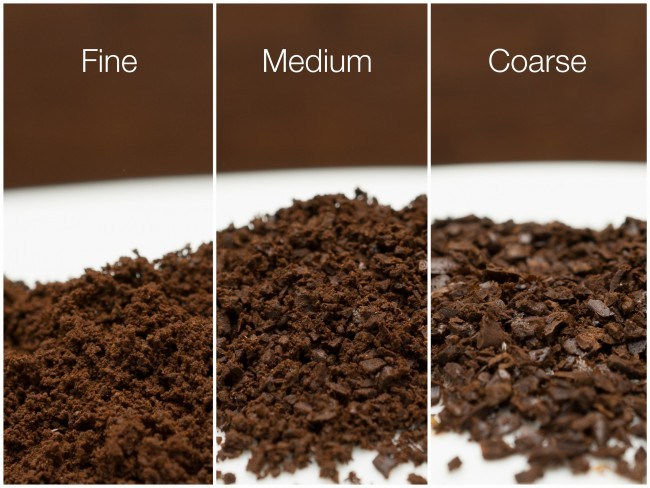 Coarse coffee vs Medium-coarse coffee vs Finely ground coffee
